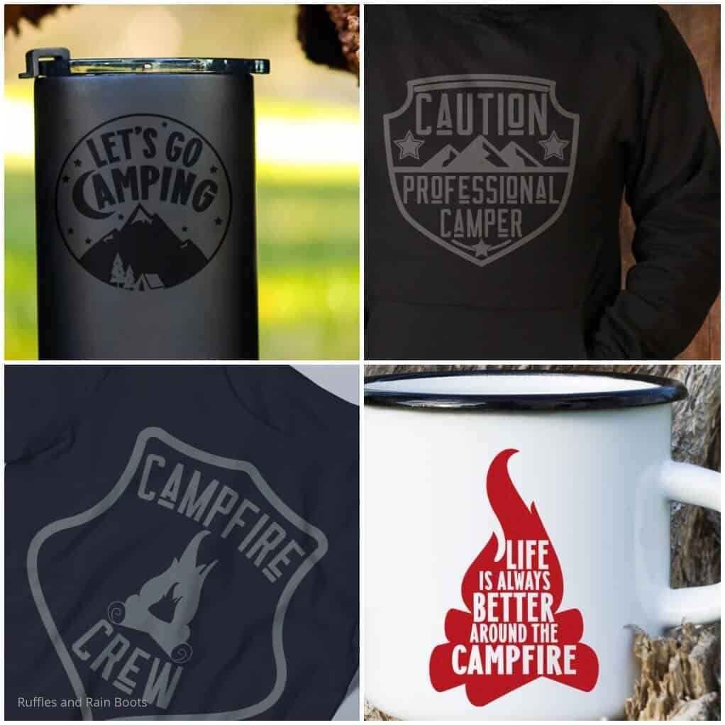 photo collage of camping files for cricut or silhouette