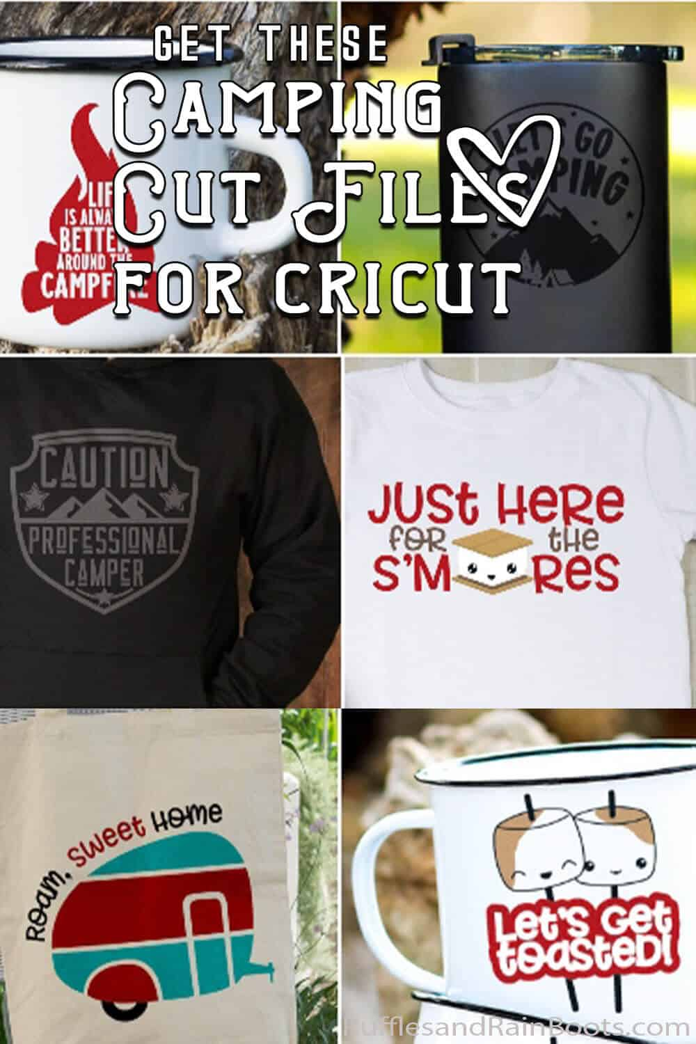 photo collage of fun camping svg files for cricut or silhouette with text which reads get these camping cut files for cricut