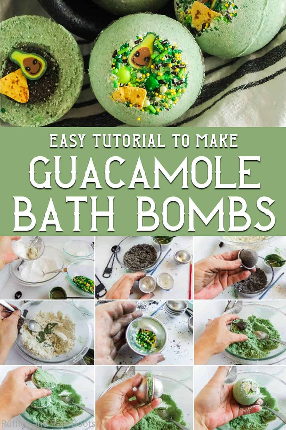 photo collage of lush inspired bath bomb recipe with text which reads easy tutorial to make guacamole bath bombs