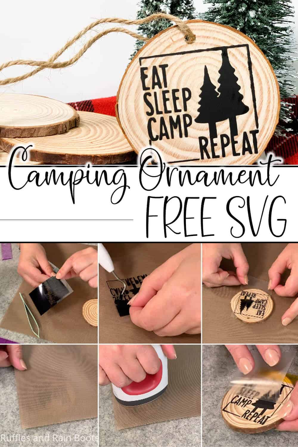 photo collage of easy wood round ornament for christmas made with the free camping cut file eat sleep camp repeat with text which reads camping ornament free svg