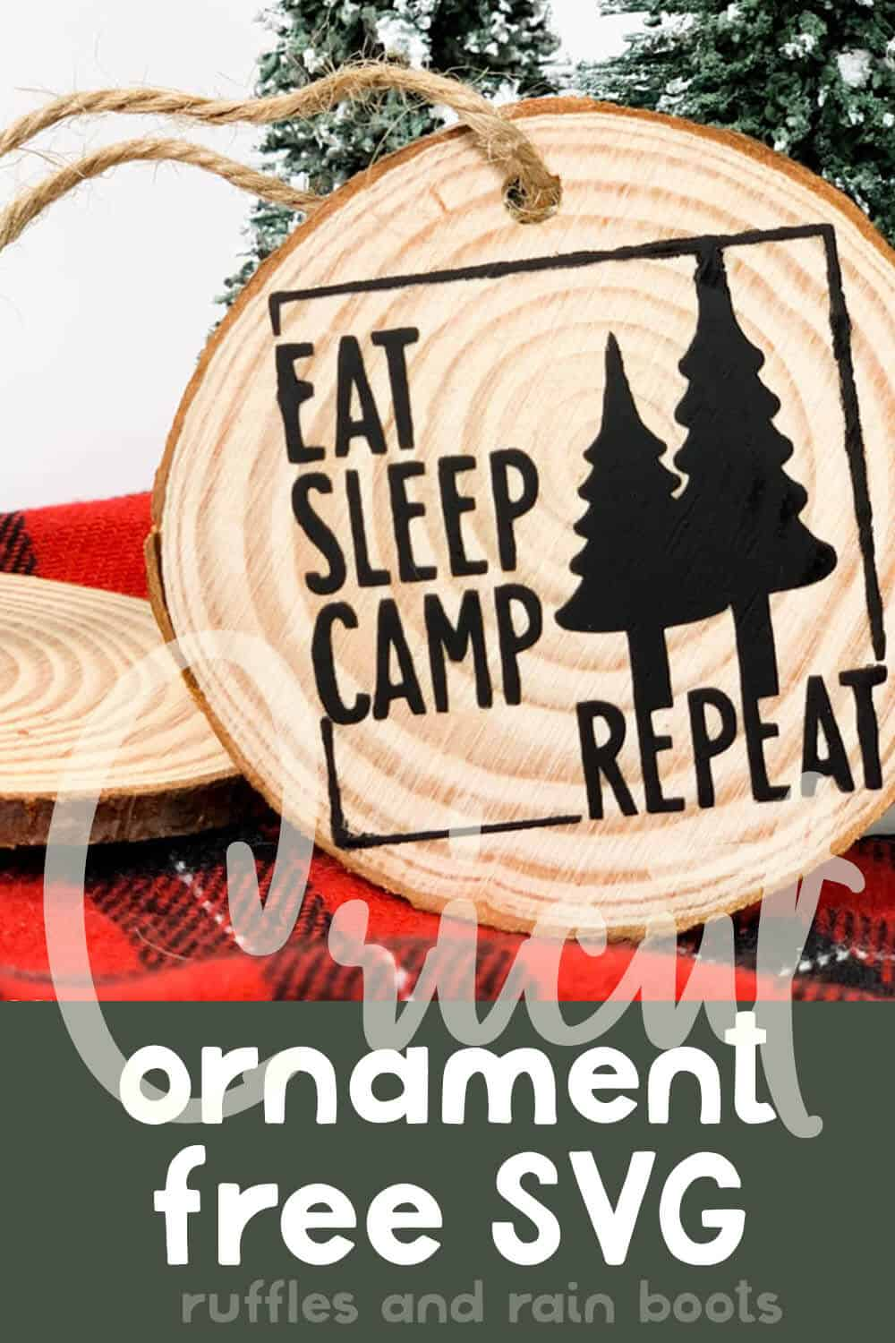 easy camping christmas ornament craft with free cut file set with text which reads cricut ornament free svg