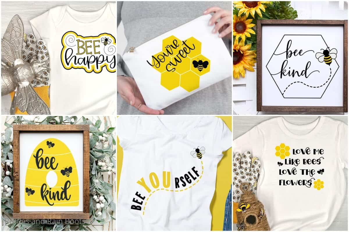 photo colllage of bee cut files bundle