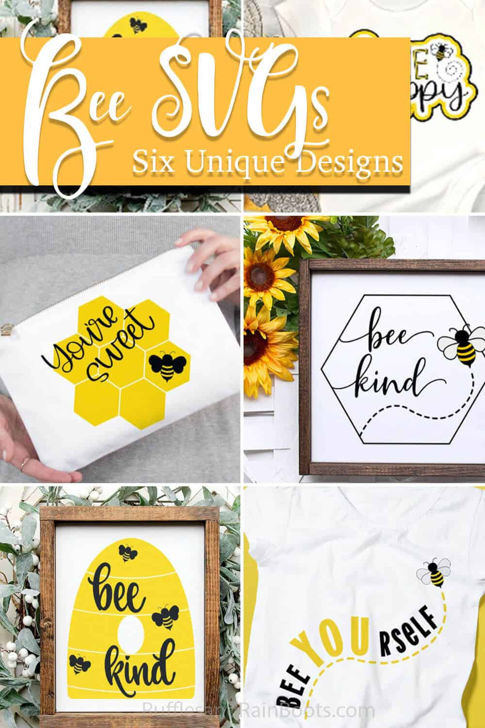 photo collage of bee SVG bundle for cricut or silhouette with text which reads bee svgs six unique designs