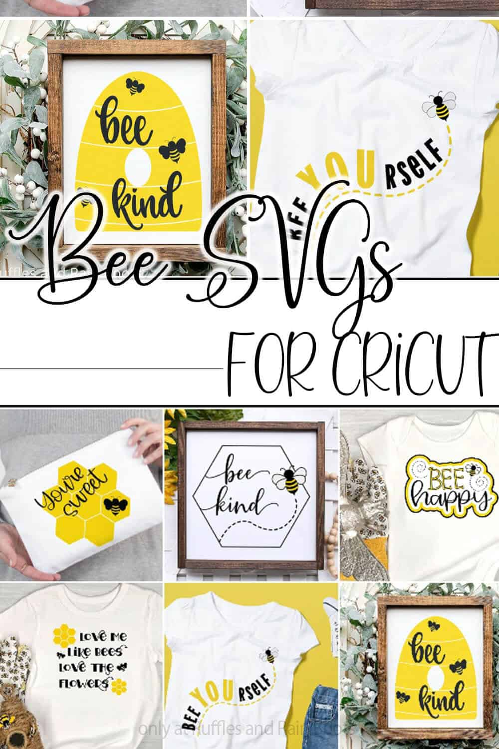 photo collage of variety of bee cut files for cutting machines with text which reads bee svgs for cricut