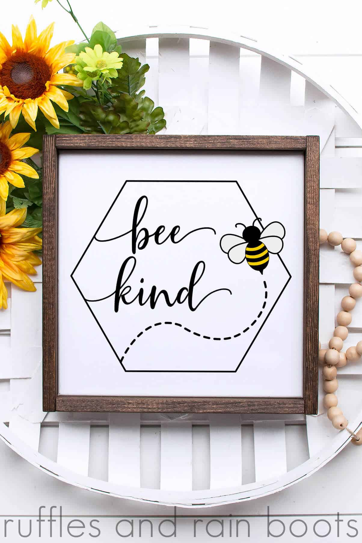 bee kind in single hexagon bee kind svg with bee honeycomb V