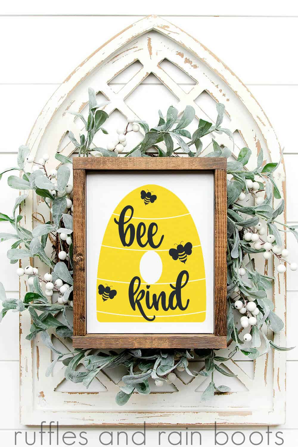bee hive svg with bee kind cut file and bees flying V