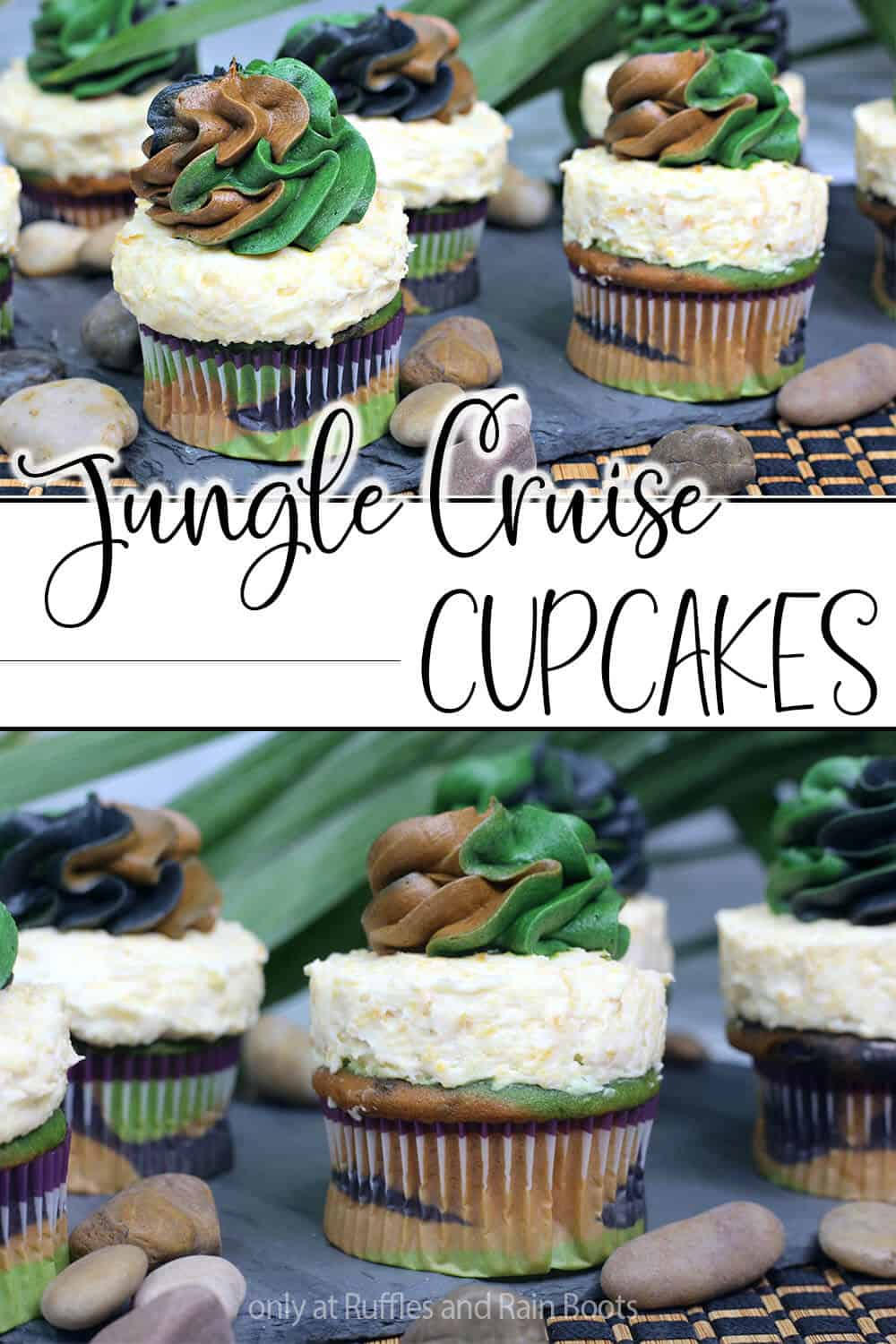 photo collage of disney cupcakes for disney jungle cruise with text which reads jungle cruise cupcakes