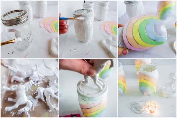 photo collage of how to make unicorn mason jar night lights