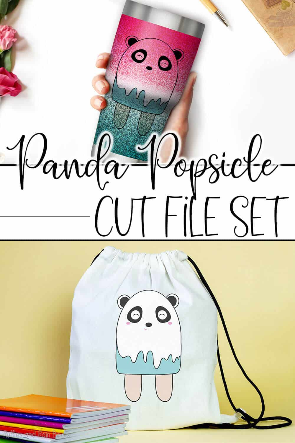 photo collage of popsicle panda svg set for cricut or silhouette with text which reads panda popsicle cut file set