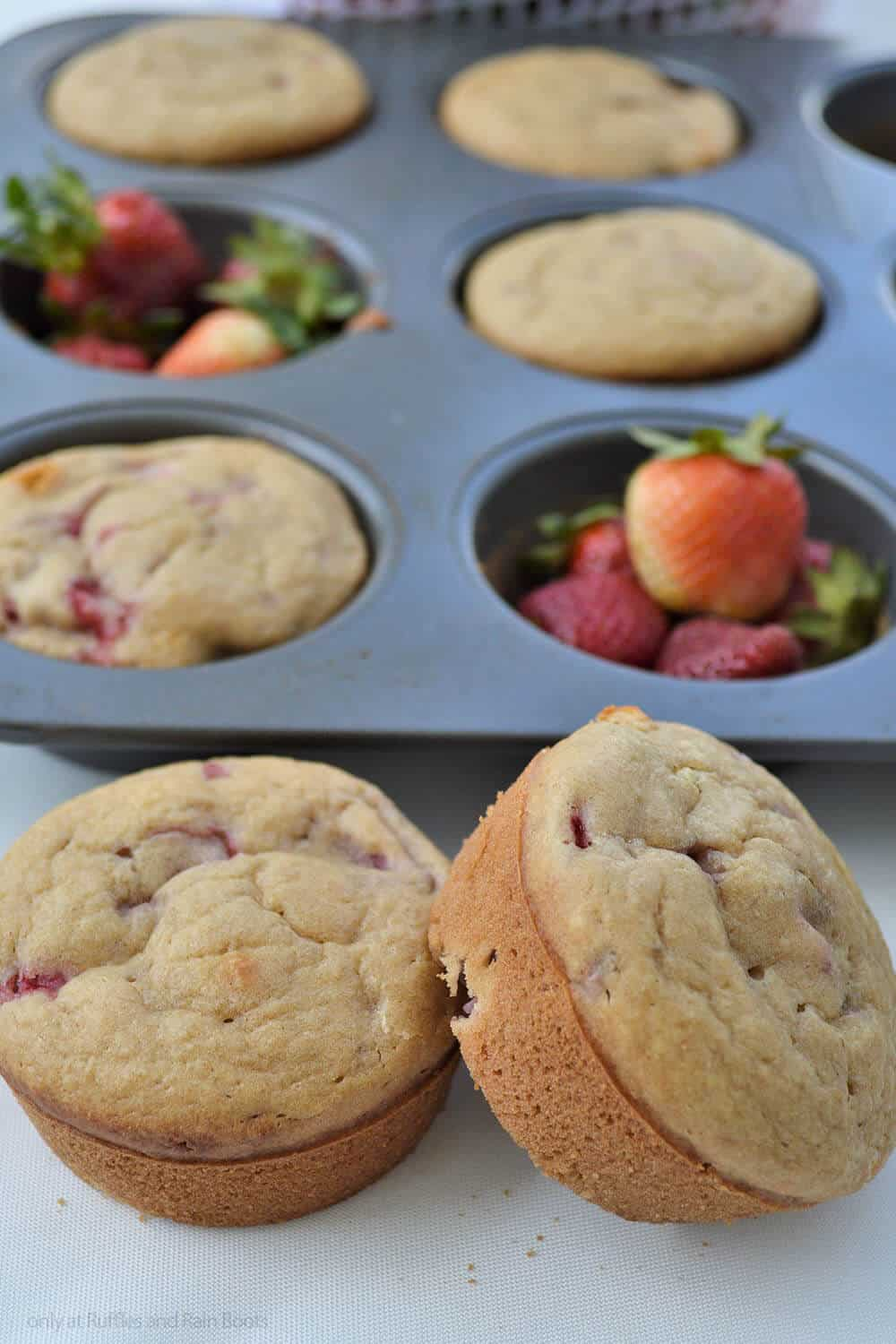 easy strawberry muffin recipe closeup