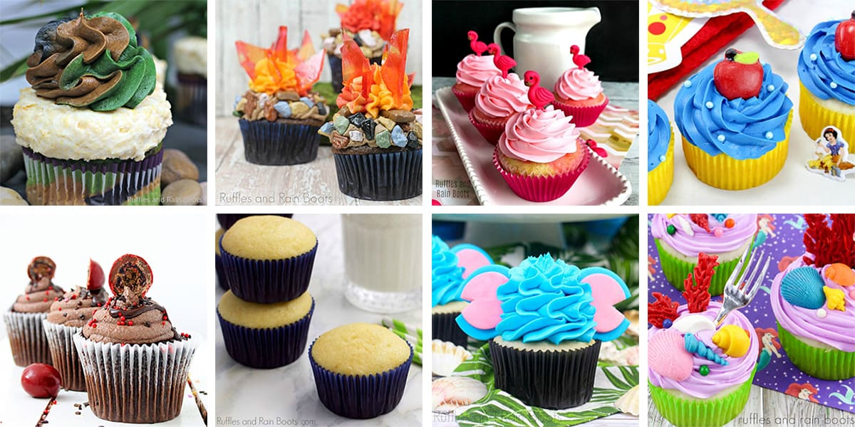 collage of colorful cupcake recipes and cupcake decorations for parties and holidays