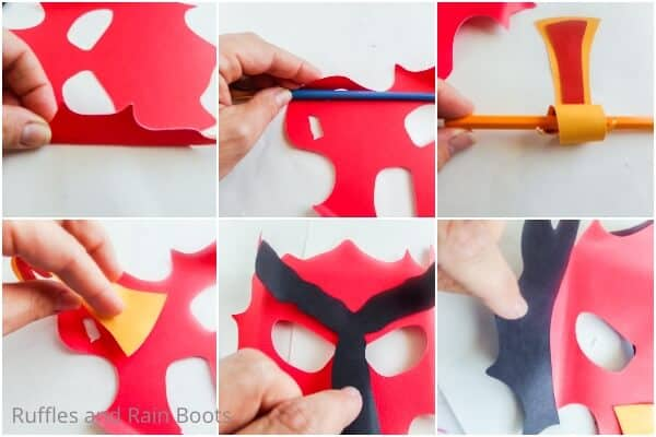 photo collage tutorial of how to make a paper dragon mask