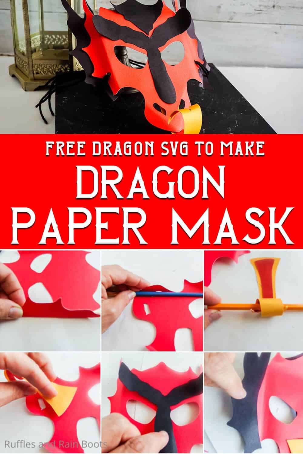 photo collage of easy paper craft for kids with text whcih reads free dragon svg to make dragon paper mask