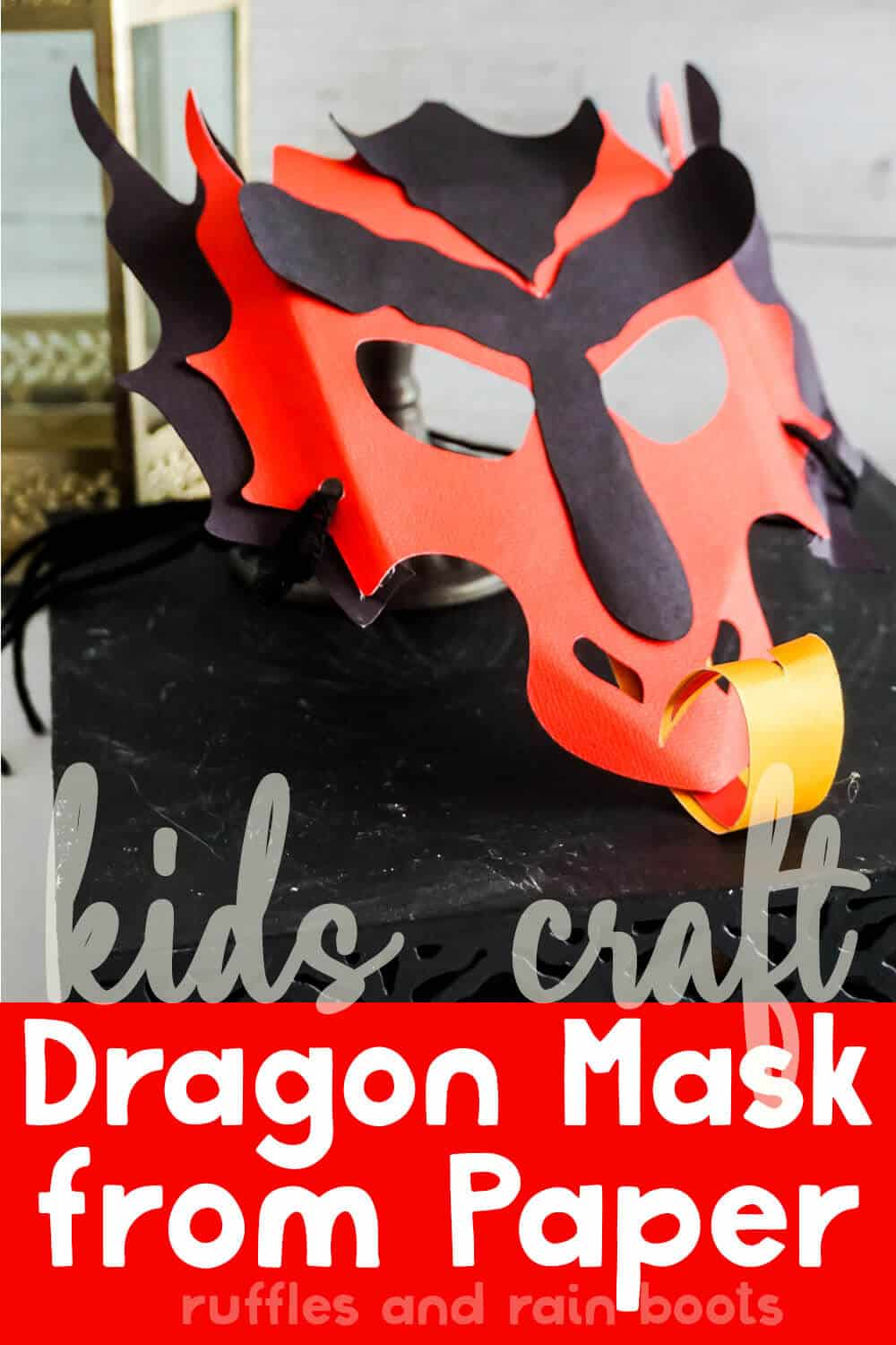 fun kids craft dragon paper mask with text which reads kids craft dragon mask from paper