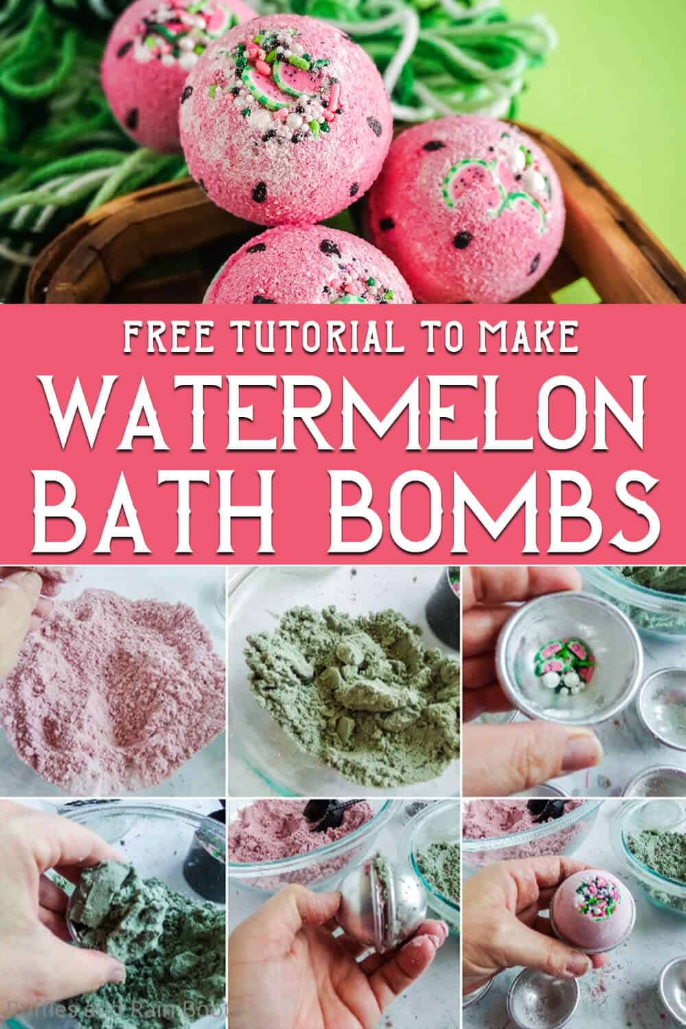 photo collage of easy watermelon scented bath bombs with text which reads free tutorial to make watermelon bath bombs