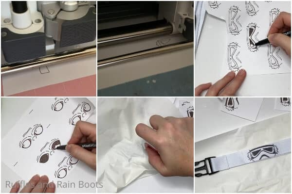 photo collage tutorial of how to make a disney lanyard with infusible ink pens