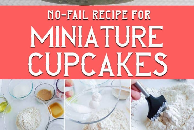 photo collage of easy cupcake recipe made with a mini cupcake tin with text which reads no-fail recipe for miniature cupcakes