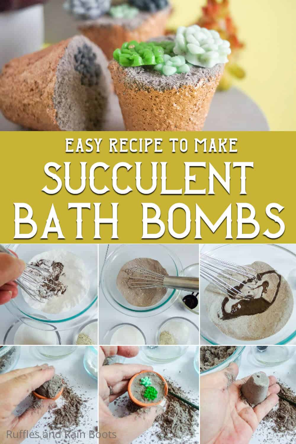photo collage of bath bombs with succulent sprinkles in them with text which reads easy recipe to make succulent bath bombs