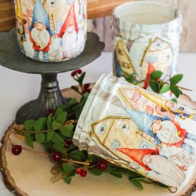 Make Easy Decoupaged Gnome Mason Jars for Quick Gifts!