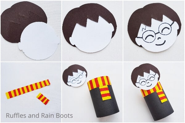 photo collage of easy paper roll craft for kids with harry potter