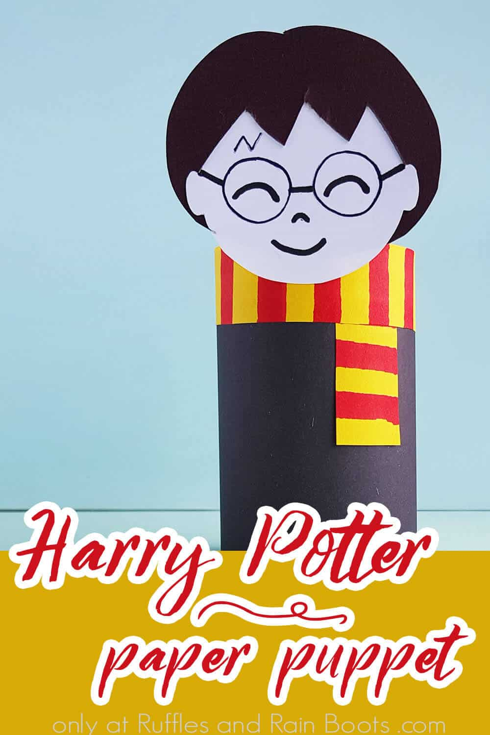 easy paper roll craft for harry potter with text which reads harry potter paper puppet