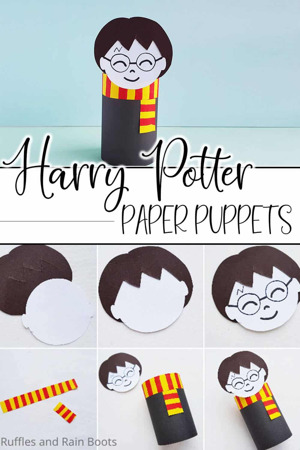 photo collage of easy kids paper craft for harry potter with text which reads harry potter paper puppets