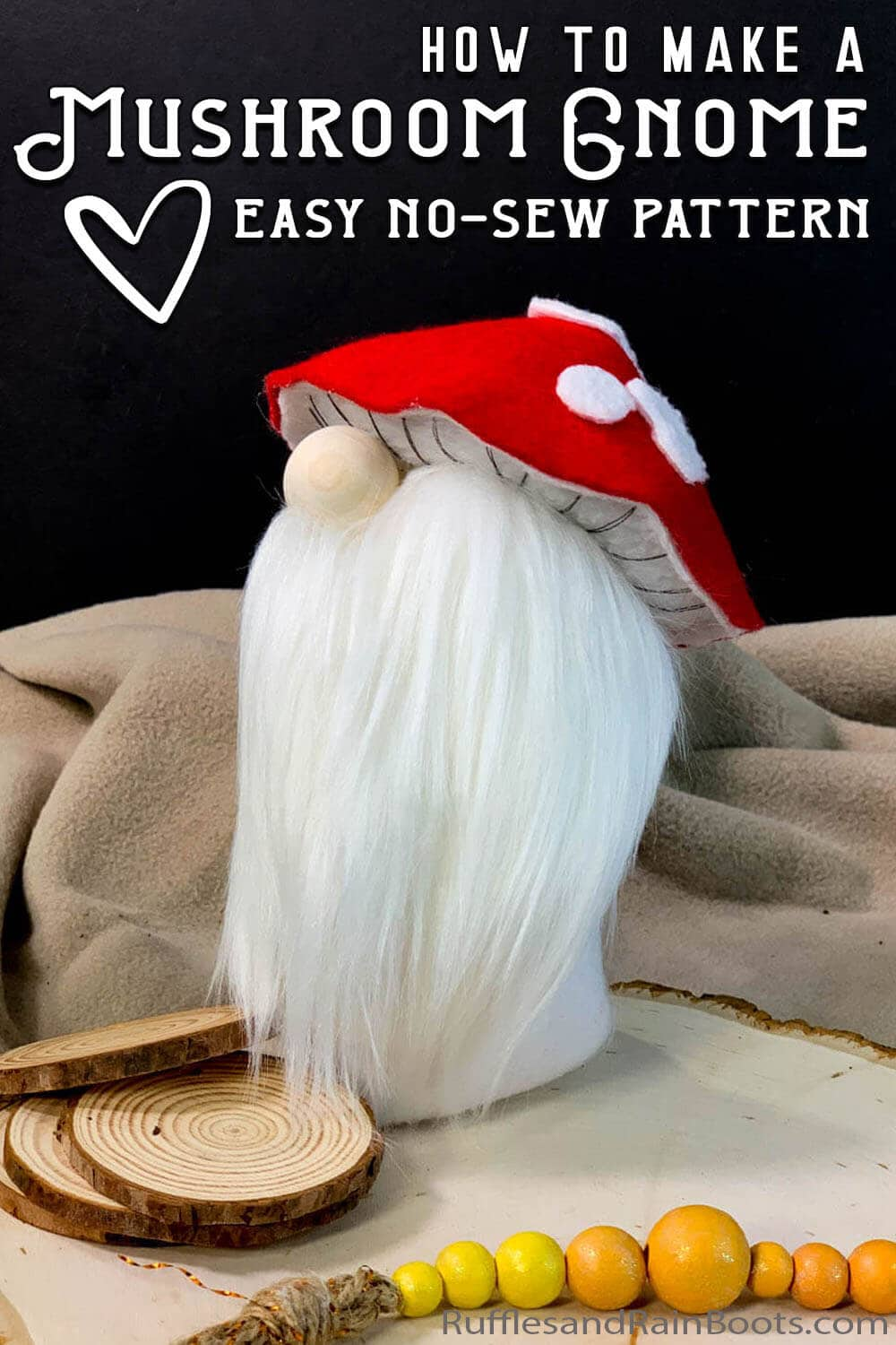 easy gnome with a mushroom hat with text which reads how to make a mushroom gnome easy no-sew pattern