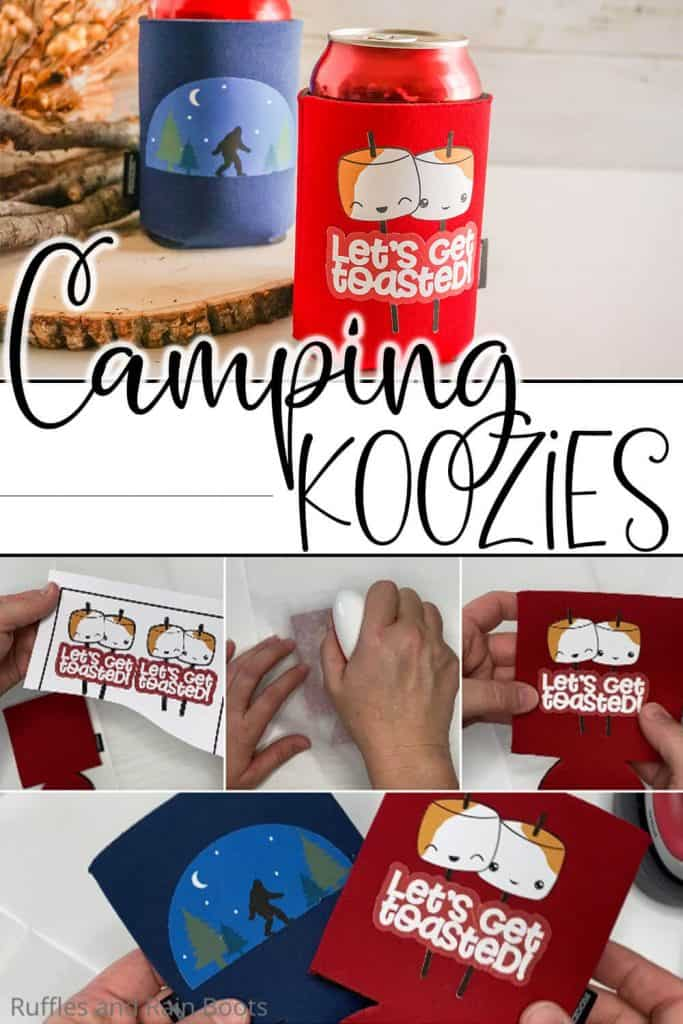 easy way to make koozies with printable vinyl with text which reads camping koozies