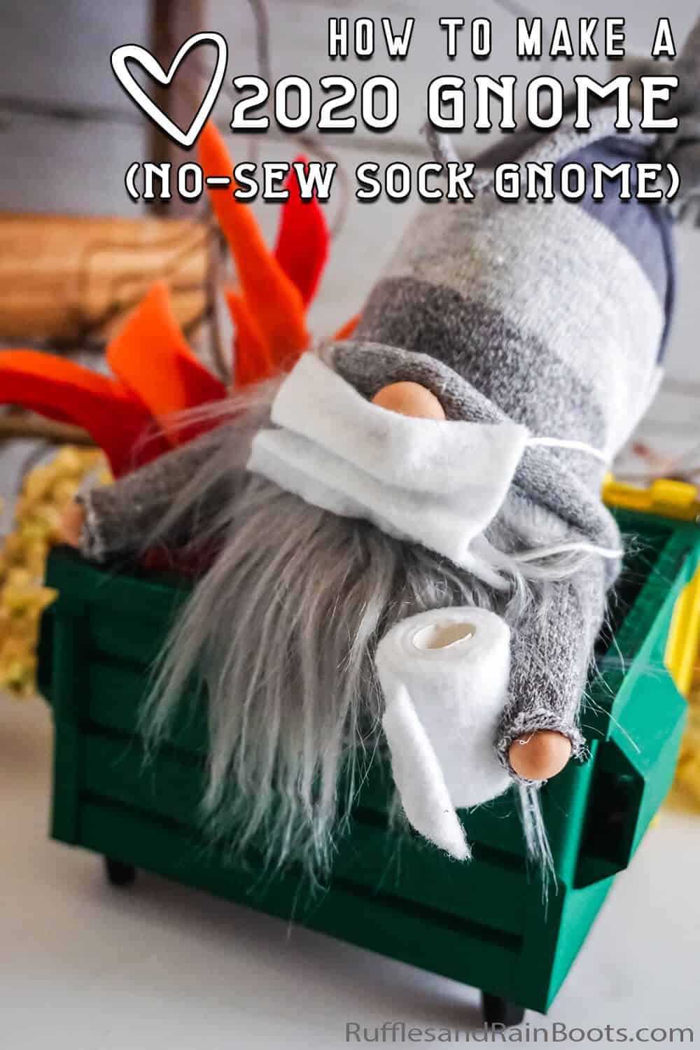 dumpster gnome with mask and toilet paper with text which reads how to make a 2020 gnome (no-sew sock gnome)