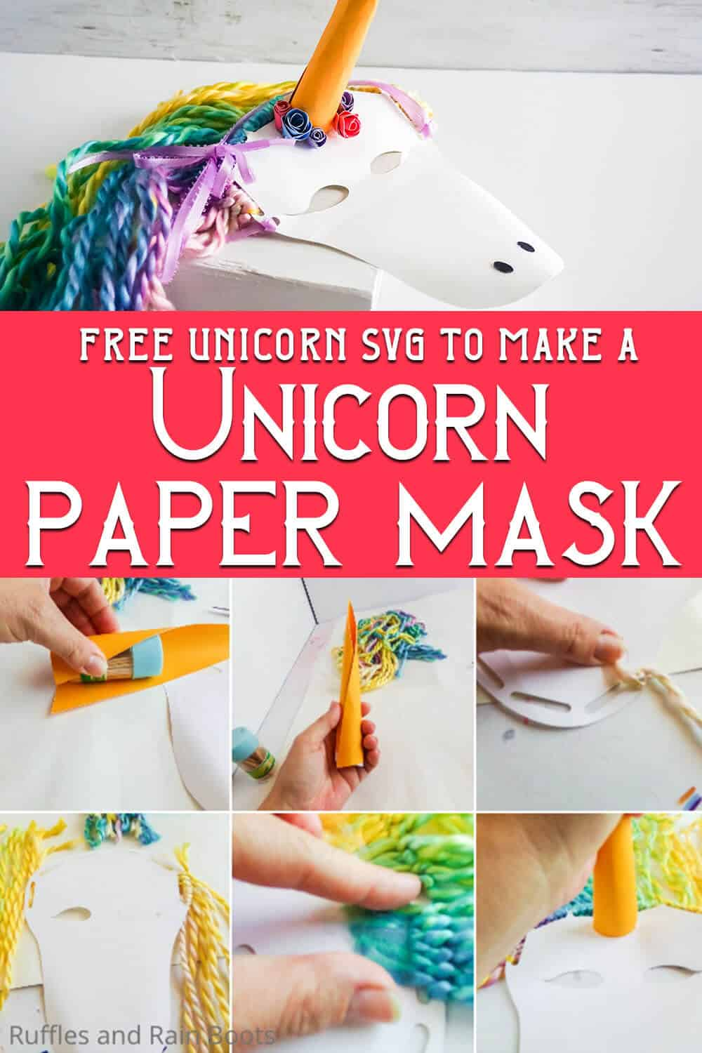 photo collage of easy unicorn paper craft for kids with text which reads free unicorn svg to make a unicorn paper mask