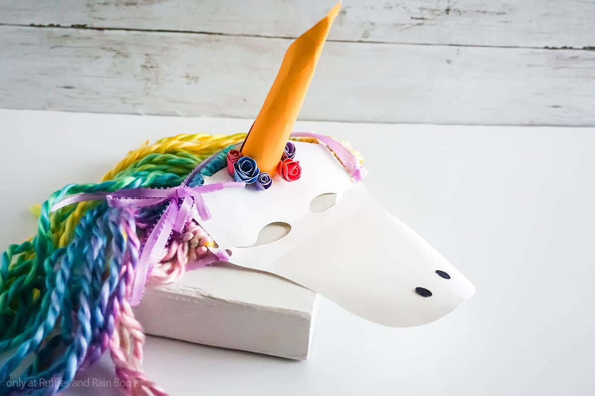 sideview of easy paper unicorn craft for kids of a unicorn mask
