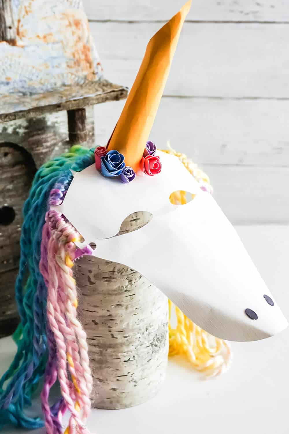 sideview of easy unicorn paper craft for kids