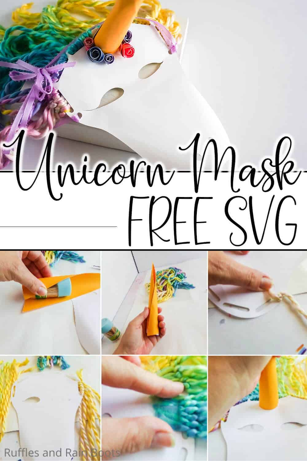 photo collage of easy paper mask unicorn for kids with text which reads unicorn mask free svg
