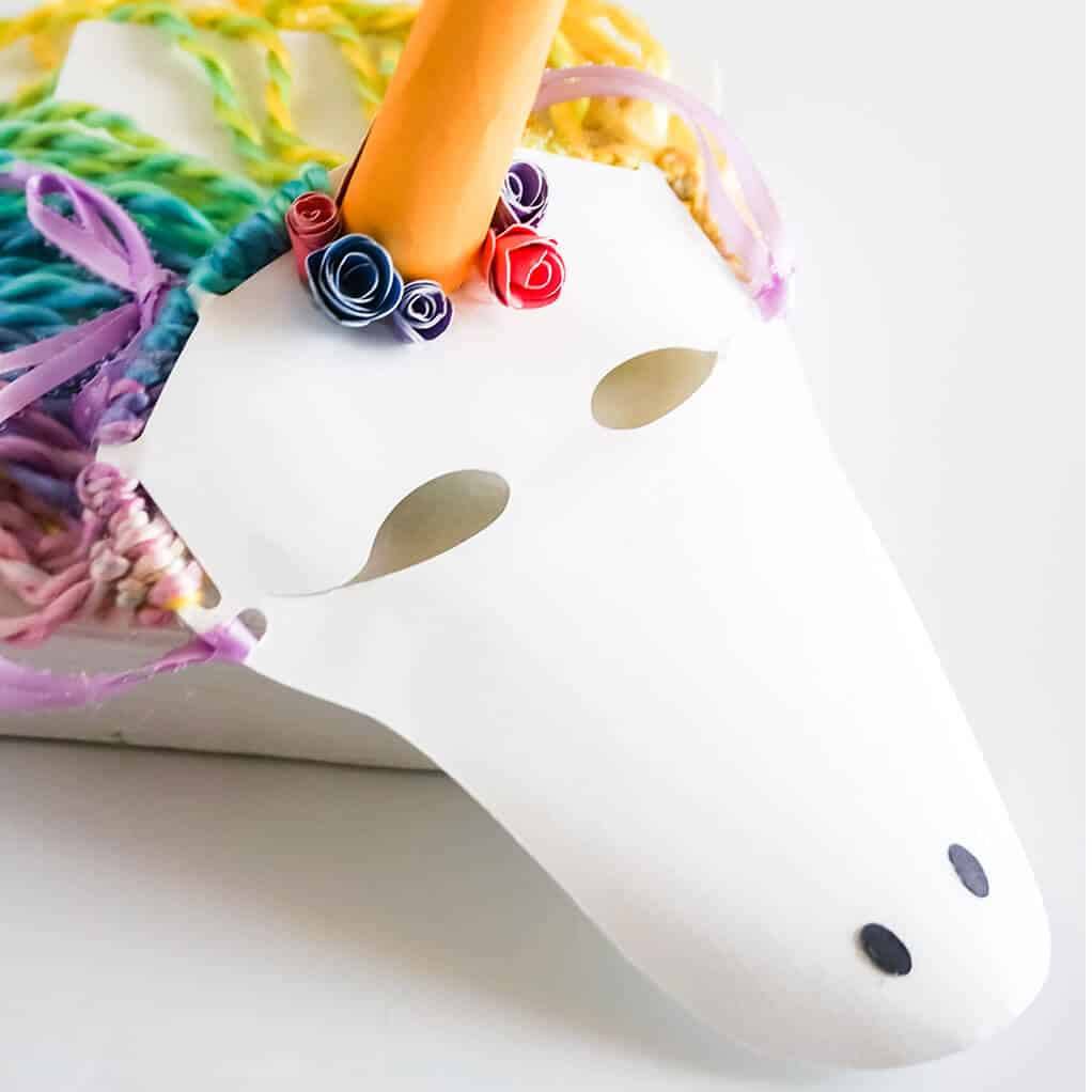 closeup of easy kids unicorn craft of making a unicorn mask