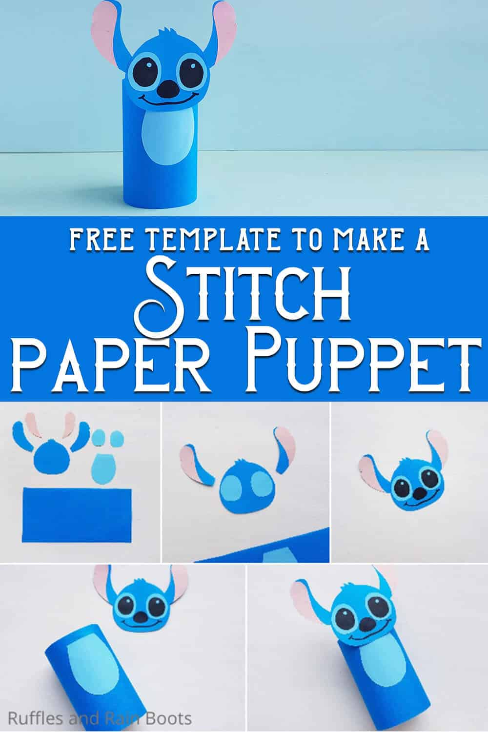 photo collage of how to make a paper roll stitch doll with text which reads free template to make a stitch paper puppet