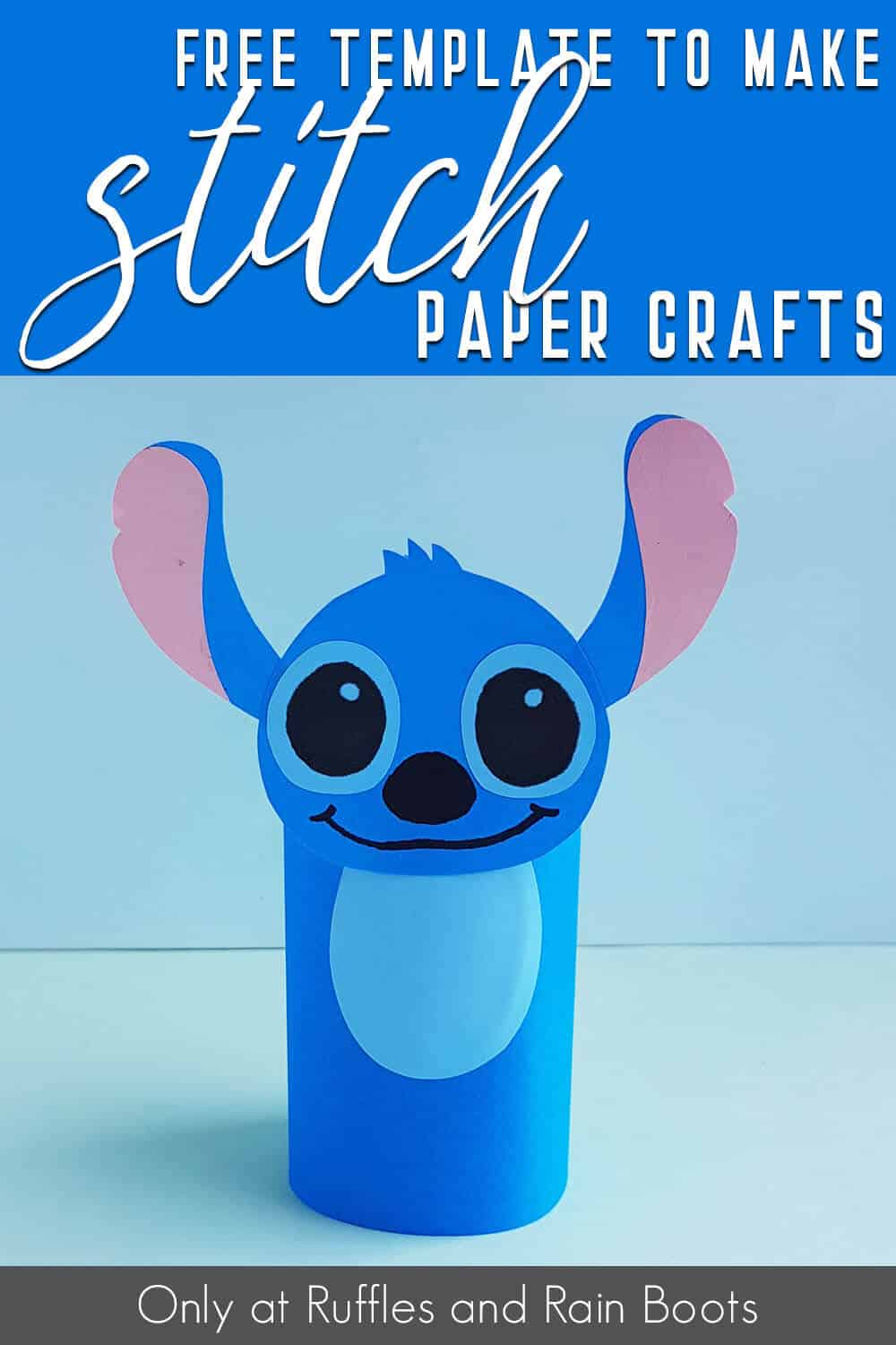 closeup of kids disney craft with text which reads free template to make stitch paper crafts