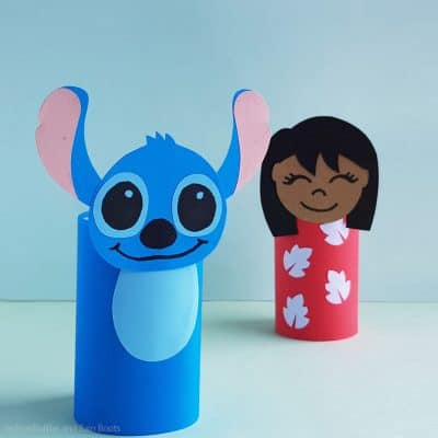 Make this Stitch Paper Roll Craft for a Quick Stitch Puppet!