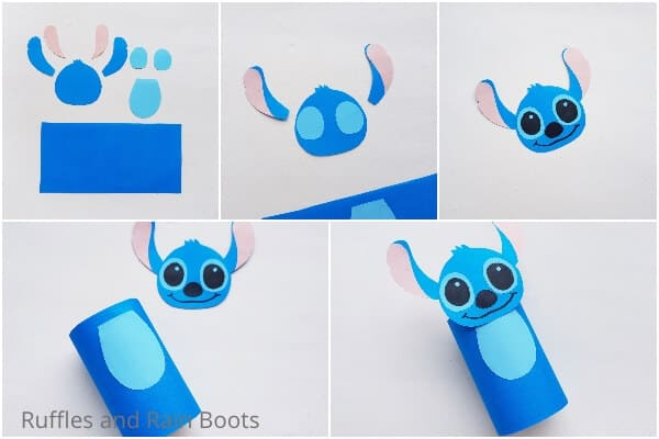 photo collage of how to make a stitch paper roll craft
