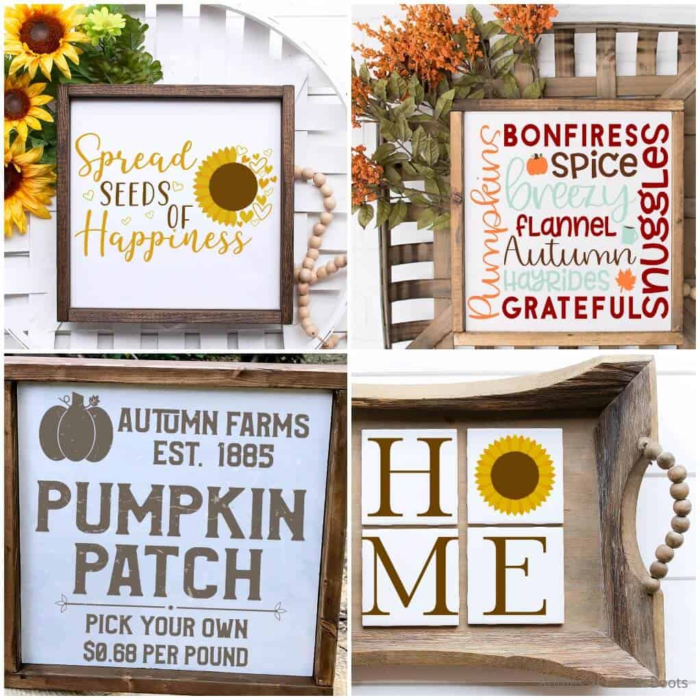 photo collage of fall svgs for farmhouse crafts