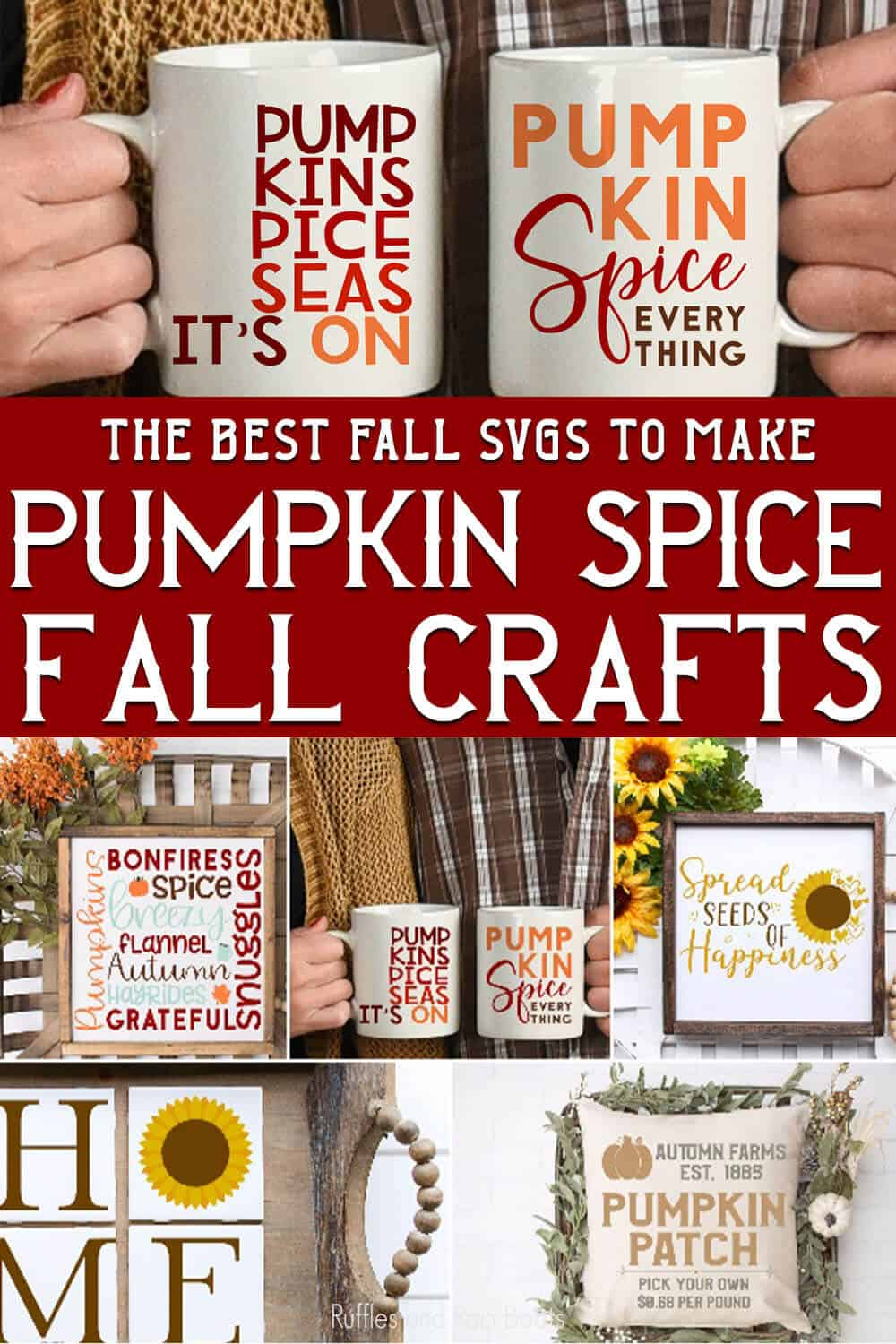 photo collage of fun fall clipart for fall crafting ideas with text which reads the best fall svgs to make pumpkin spice fall crafts