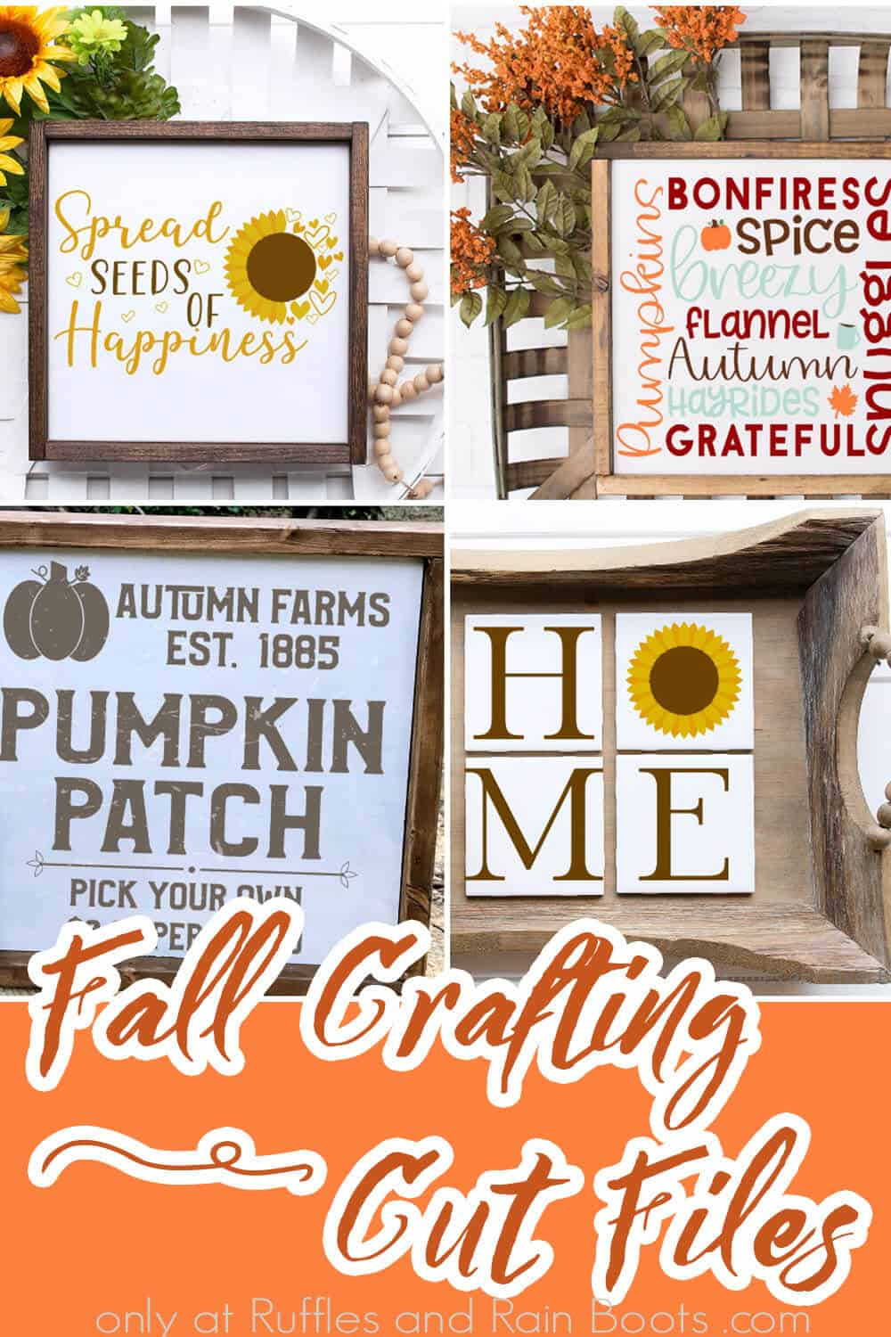 photo collage of fall clipart for cricut or silhouette with text which reads fall crafting cut files