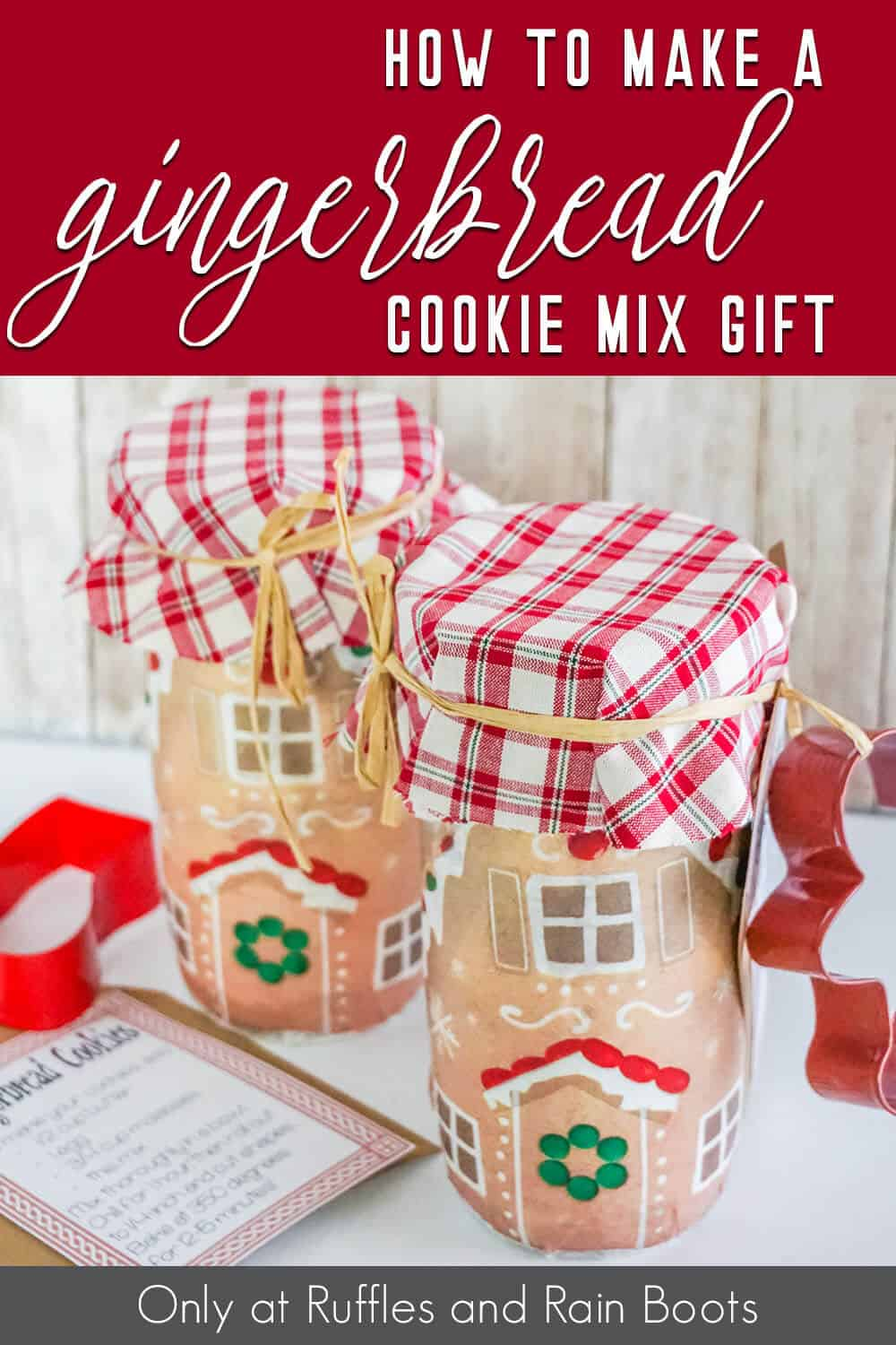 gingerbread cookie mix in a jar gift idea with text which reads how to make a gingerbread cookie mix gift