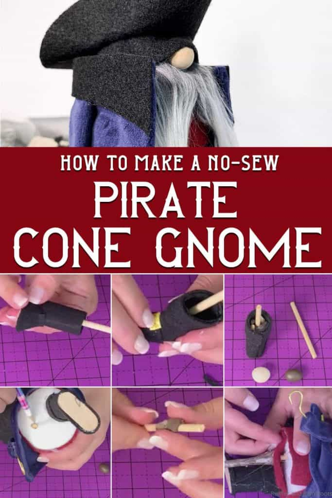 photo collage of pirate cone gnome with text which reads how to make a no-sew pirate cone gnome