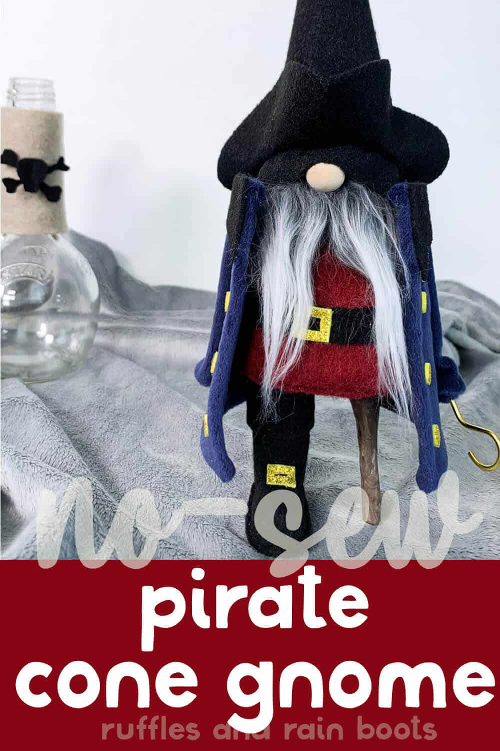 front view of a pirate halloween gnome with text which reads no-sew pirate cone gnome