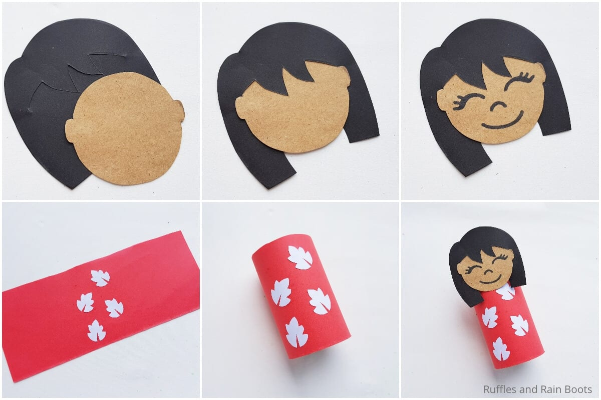 photo collage tutorial of how to make a lilo paper roll craft