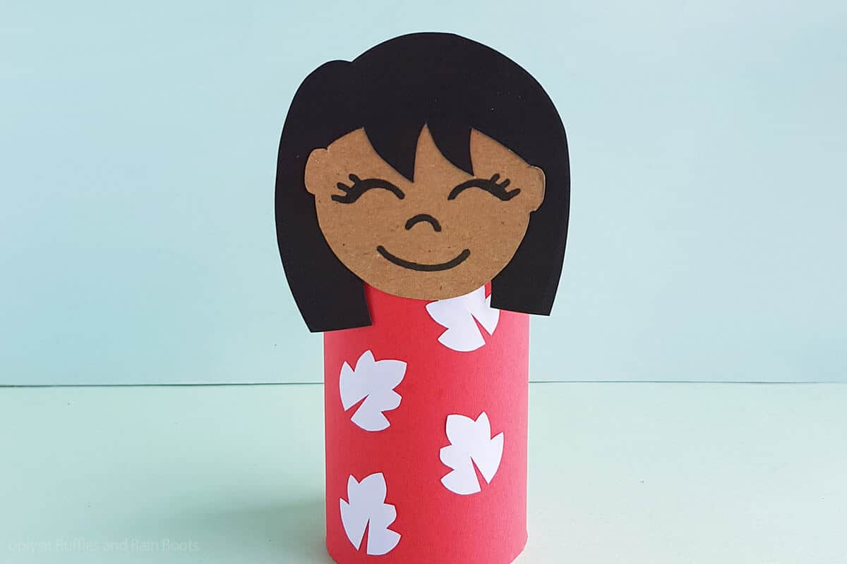 closeup of easy disney craft of a lilo paper doll