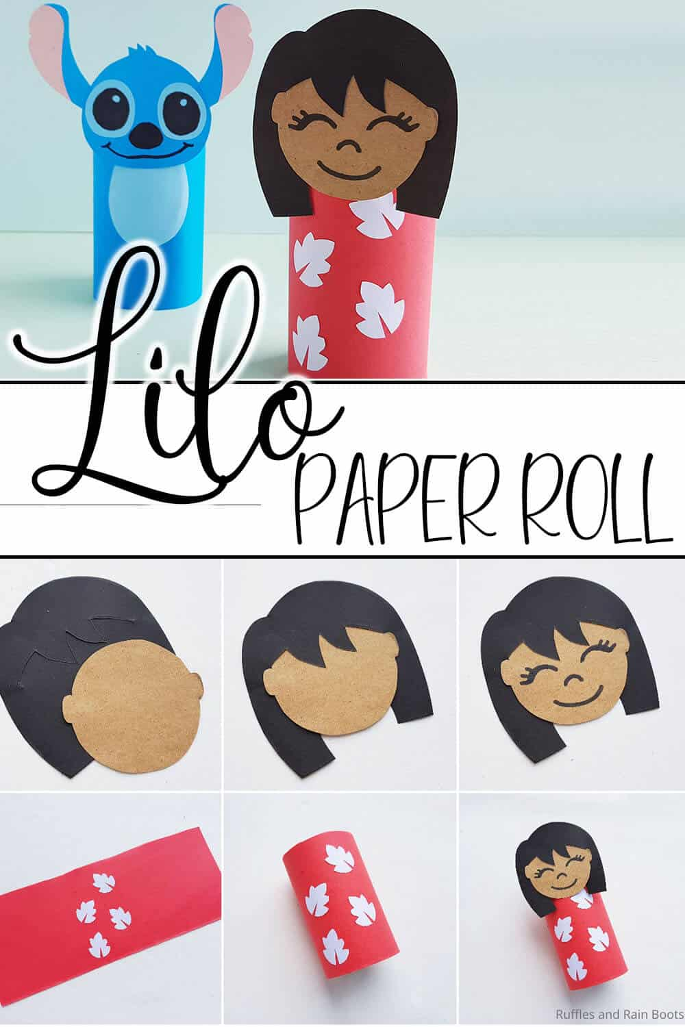 photo collage of easy lilo paper roll craft for kids with text which reads lilo paper roll
