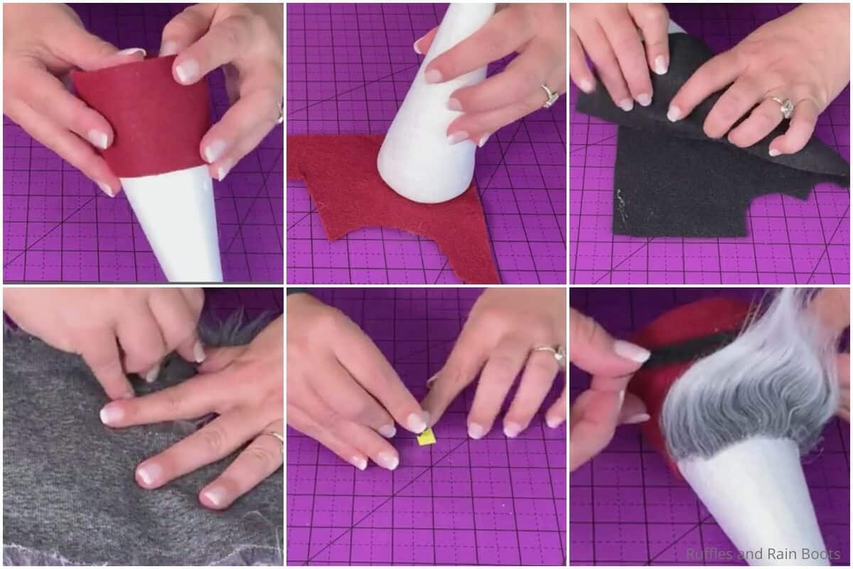 photo collage tutorial of how to make a pirate gnome