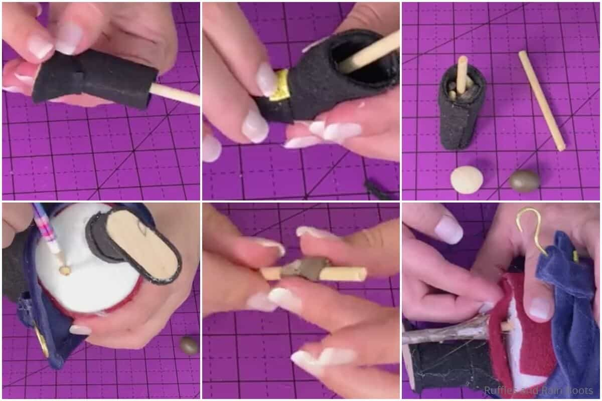 photo collage tutorial of how to make a pirate gnome for halloween