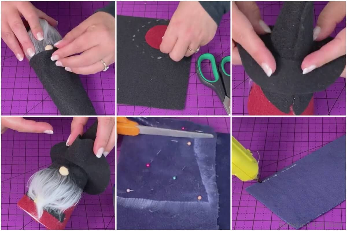 photo collage tutorial of how to make a halloween gnome pirate